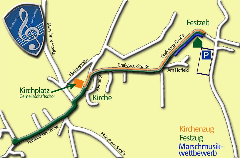 Karte für den Kirchen- und Festzug