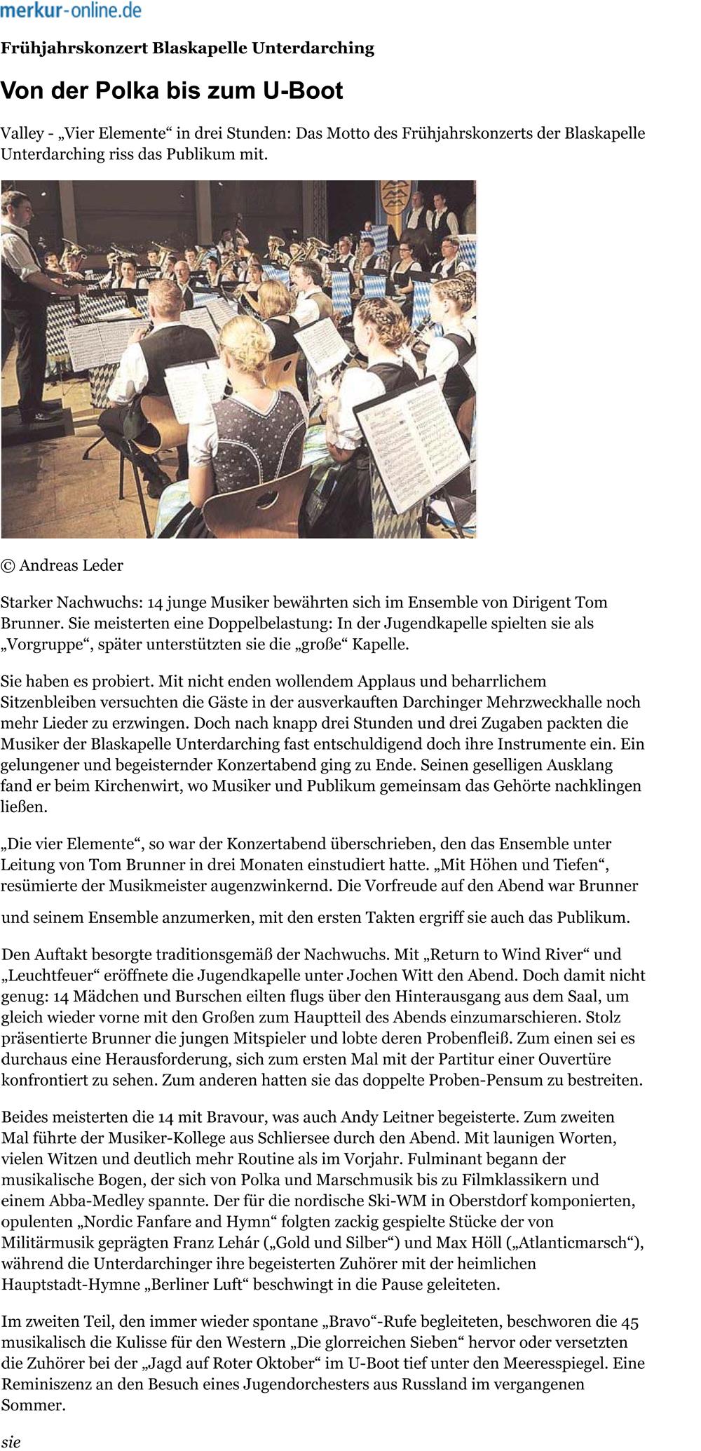 Konzertbericht im Merkur online