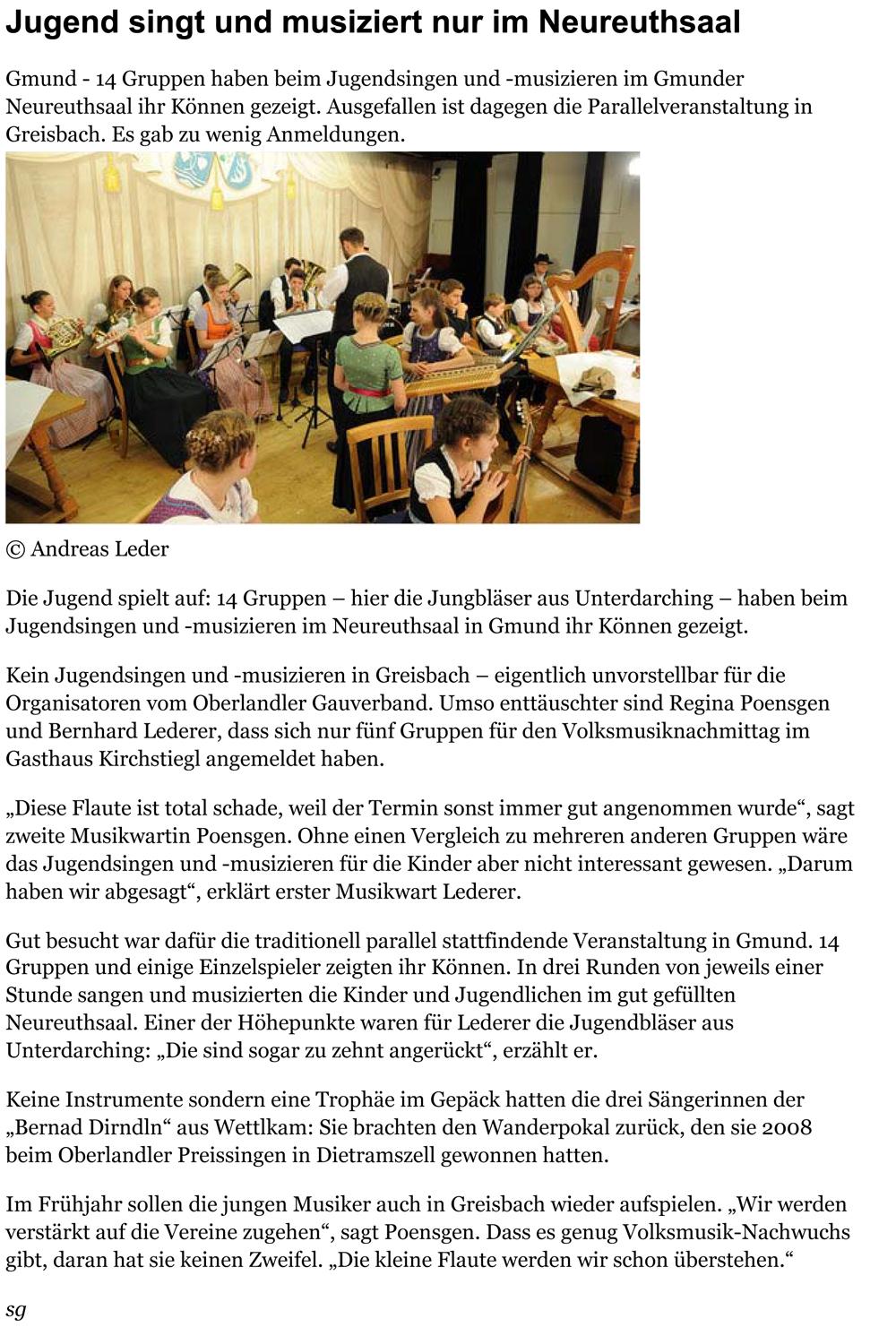 Zu wenig Anmeldungen für Greisbach: Jugend singt und musiziert n