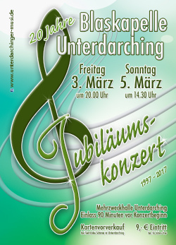Plakat Blaskapelle - Unterdarchinger Musi - Jubiläumskonzert