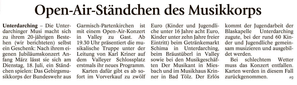 Veranstaltungshinweis zum Open Air des Gebirgsmusikkorps Garmsich-Partenkirchen 2017 in Valley - Unterdarchinger Musi