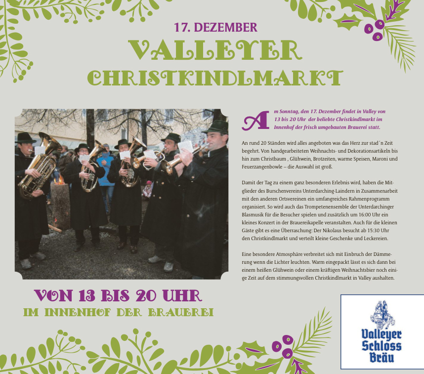 Trompetenkonzert am Christkindlmarkt in Valley