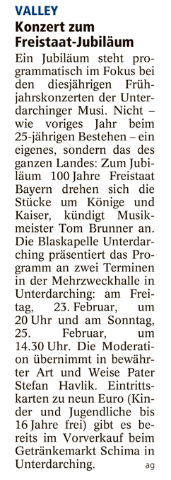 Ankündigung Konzert Unterdarchinger Musi im Holzkirchner Merkur