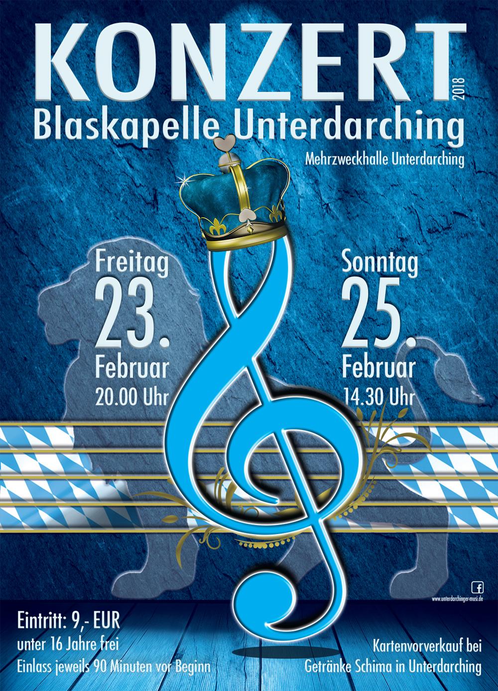 Konzert Blaskapelle Unterdarching Plakat 2018