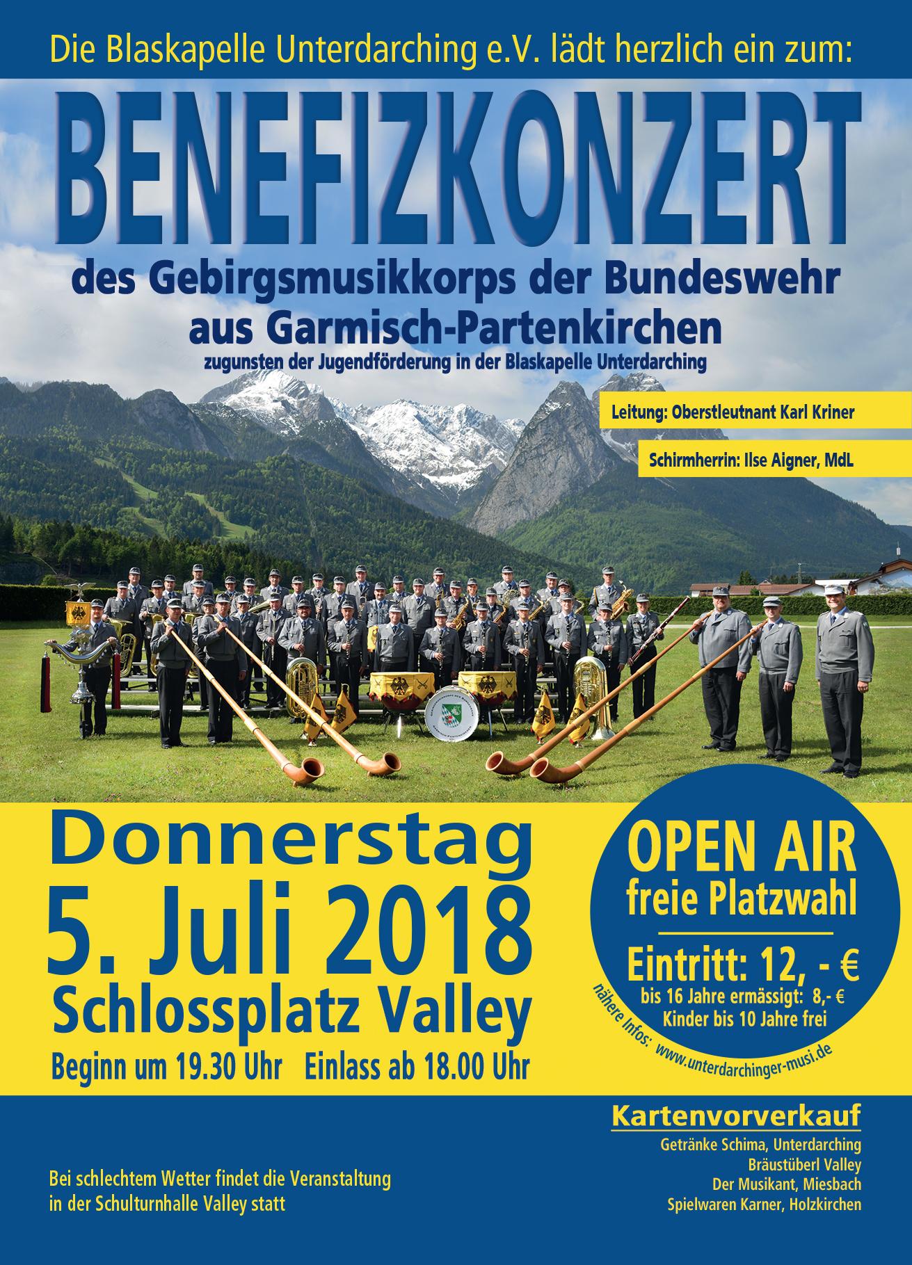 Plakat Gebirgsmusikkorps der Bundeswehr - Benefinzkonzert 2018 in Valley, Blasmusik, OpenAir, Bundeswehr