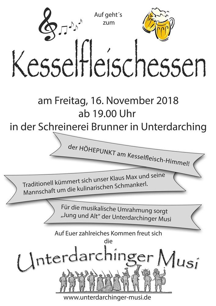 Kesselfleisch, Kesselfleischessen, Blasmusik, Blaskapelle, Blaskapelle Bayern, Unterdarchinger Musi, Kesselfleischessen 2018, Metzgerei Klaus Max, Schreinerei Brunner