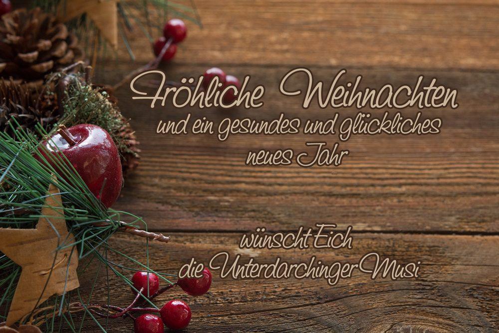 Weihnachtskarte Blaskapelle, Weihnachtsgrüße, Weihnachtsgruß Unterdarchinger Musi, Unterdarchinger Musi